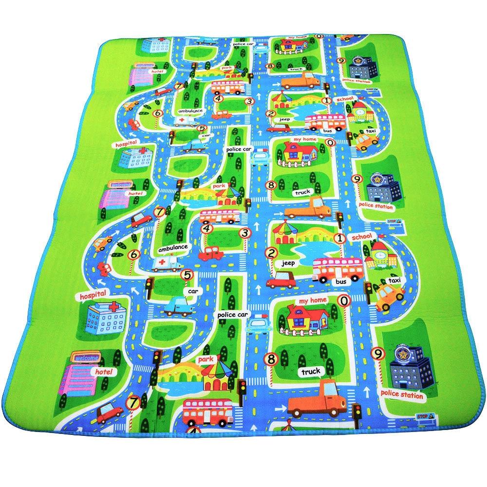0.5 cm Thick Town City Traffic Baby Crawling mat EVA Foam Climbing Pad Green Road Children's Play Mat Carpet for Baby