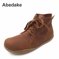 2017 ABEDAKE BRAND SPING HANDMADE COW LEATHER BOOTS FLAT BOTTOM GENUINE LEATHER BOOTS WOME SHOES CASUAL