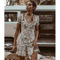 Celestial Mini Dress Frill V Neck Floral Print Dresses lace up open back Sexy Women Dresses Ruffled hem Casual Beach Vestidos