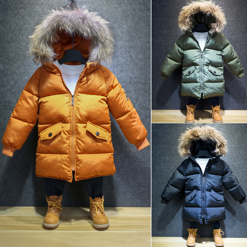 2017Boys big Fur Collar quilted waterproof kids winter warm snow hooded Down Jackets For Cold Children Parkas Outerwear & Coats 2017 winter down jackets for boys