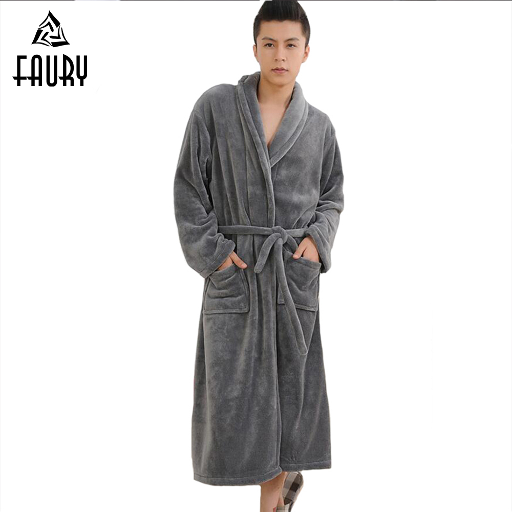 2018 High Quality Winter Autumn Flannel Men Bath Robes with Belt Gentlemen Homewear Long Nightgown Sleepwear Lounges Pajamas