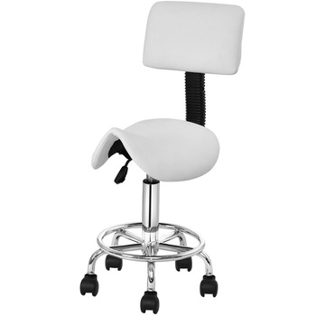 Adjustable Saddle Salon Rolling Massage Chair with Backrest Premium PU Seat 360-degree Swivel Chair Easy to Assemble