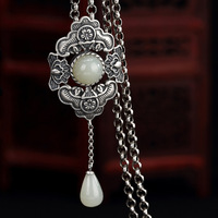 New S925 pure silver natural hetian jade white jade inlay bats ms plum flower wholesale sweater chain silver pendant