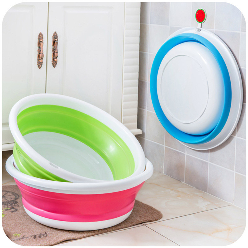 3 Colors Plastic folding bucket portable wash basin foldables