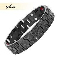 Vivari 2017 Men All Black Stainless Steel Bracelet 4in1 36pcs Magnet Negative Ions Germanium Far Infra