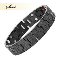 Vivari 2017 Men All Black Stainless Steel Bracelet 4in1 36pcs Magnet Negative Ions Germanium Far Infra