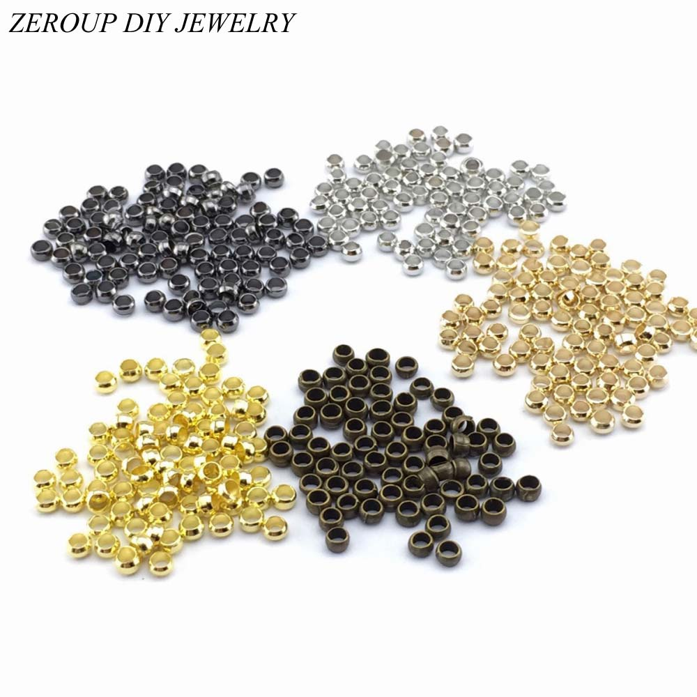 ZEROUP 500pcs Smooth Ball Crimps End Beads Silver Gold Connector Ball Plunger Jewelry Findings and Components 2.5mm