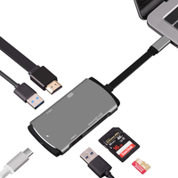6 in 1 Type C Multi Function USB HUB & PD Charging Support 4K Displays.2*3.0 USB HUB High speed Card Reader Essential Ports HUBS