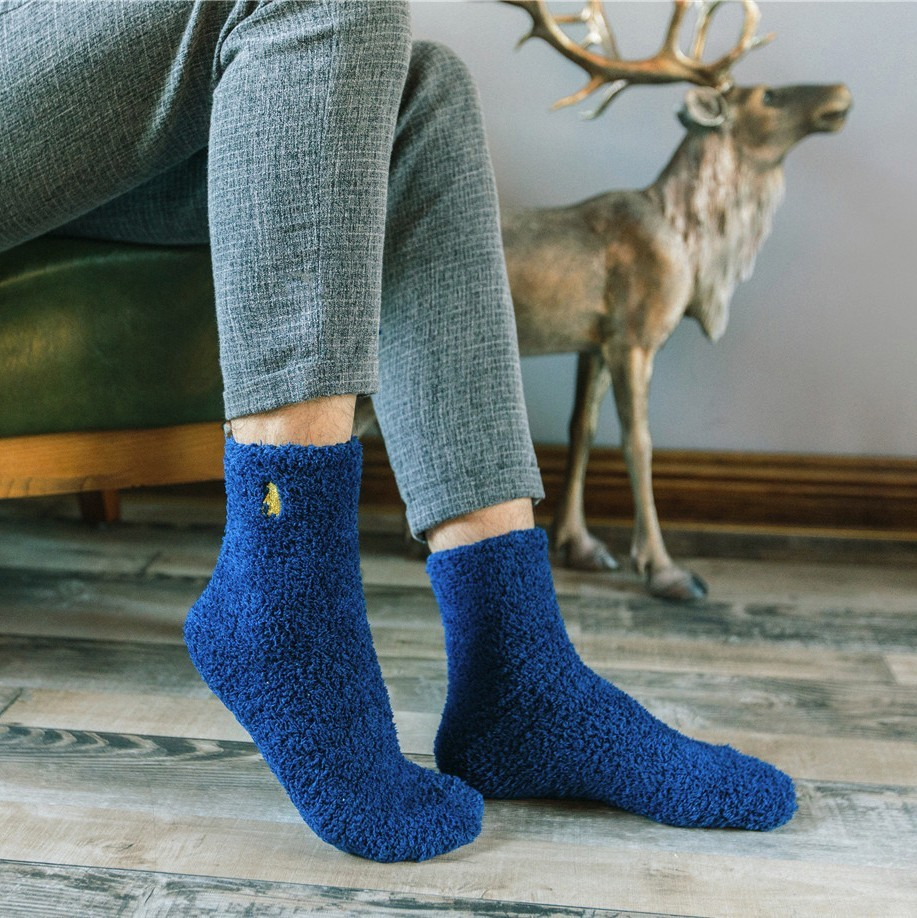 PEONFLY galling mens terry coral fleece thick warm floor towel socks Autumn and winter chaussette homme