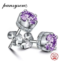 цены PANSYSEN Natural Purple Amethyst Stud Earrings For Women Real 925 Sterling Silver Crown Crystal Wedding Party Jewelry Earring