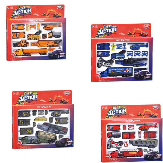 Model Alloy Vehicles Mini Police/Fire/Military/Engineering Vehicles Set Toys Model Car Diecasts Vehicles Models Car For Kid