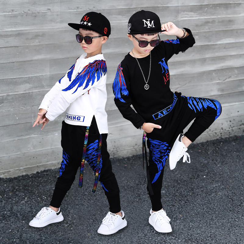 252 High quality 2018 autumn winter fashion black red T shirt+pants children set kid suit girl boy clothing set for 4 14 years