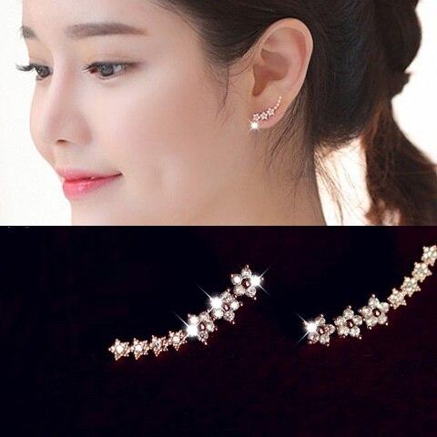 Fine Zircon Ear Cuff Classic Simple Fashion Jewelry Earrings For Women Bijoux 2018 Wholesale Flower Design Gift|earrings for women|earrings for women designerfashion earrings for women - AliExpress