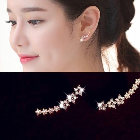 White / Rose gold color zircon ear cuff earrings for women ...