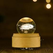 10pcs Moon Crystal Ball Night Light Wooden Music Box Rotary Innovative Birthday Gift Hand Crank Mechanism