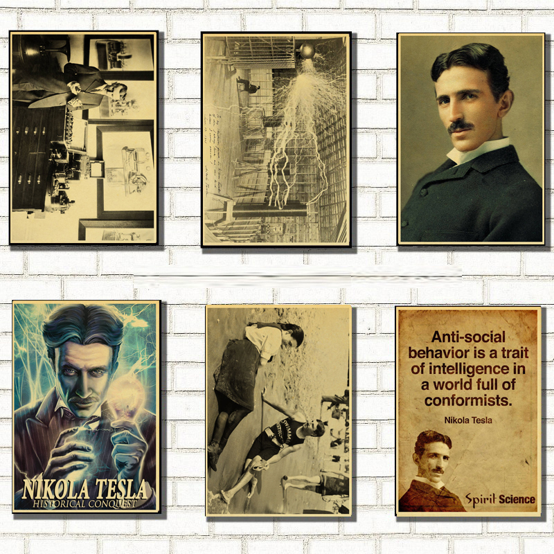 Famous Scientists Nikola Tesla Retro Poster Home Furnishing Decoration Kraft Game Poster Drawing Painting Wall Stickers