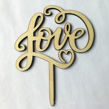 Love Word Wedding Decoration Cake Topper Wood Letters Insert Baking Accessory