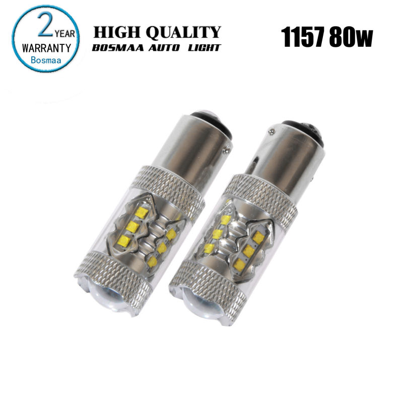 2PCS BAY15D 1157 80W with chips LED High Power Free Turn Signal Backup Light Brake Light Driving Lamp Car Led Bulbs