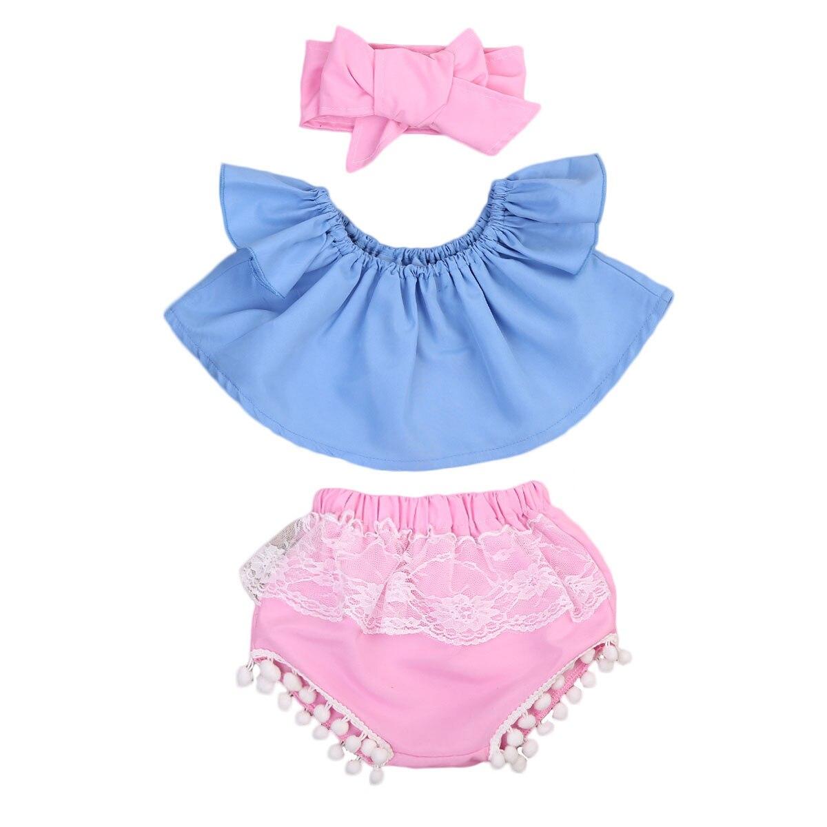 3 шт. для маленьких девочек рюшами с плеча майка + E Шорты + повязка на голову одежда в загородном стиле комплект