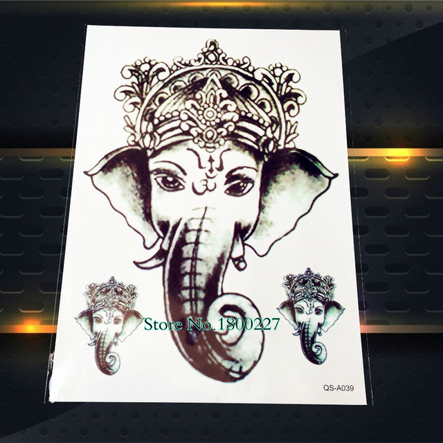239faf0b3 1PC Hot 3D Ganesha Water Transfer Fake Tattoo Stickers Men PQS-A039 Queen  Crown Elephant