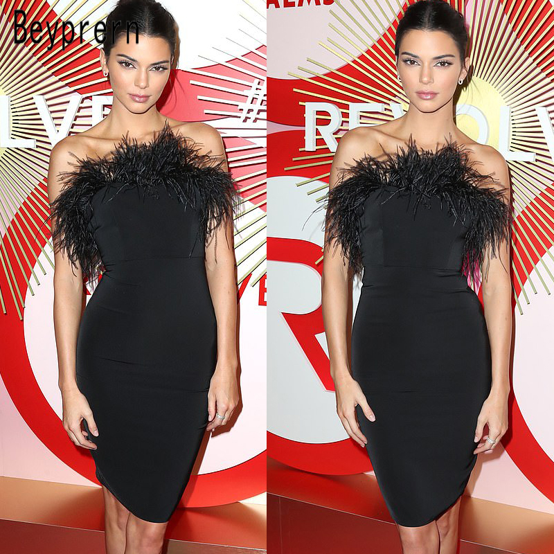 c69b6eec6ad01 US $15.29 49% OFF|Beyprern Kendall Jenner's Party Dress Fashion Black  Feather Patchwork Stretchy Bodycon Bandage Dress Special Occasion Outfits  -in ...