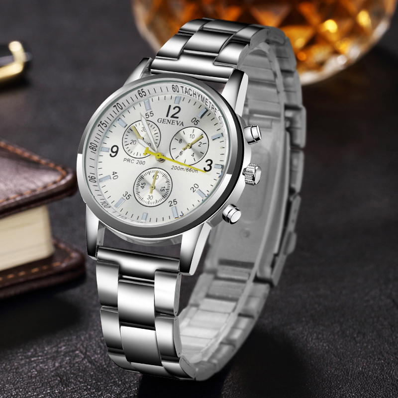 Top Luxury Brand Watch New Mens watches GENEVA Stainless steel belt Fashion male Business Quartz wristwatch relogio masculino pagani design top luxury brand watches mens stainless steel band fashion business quartz watch wristwatch male