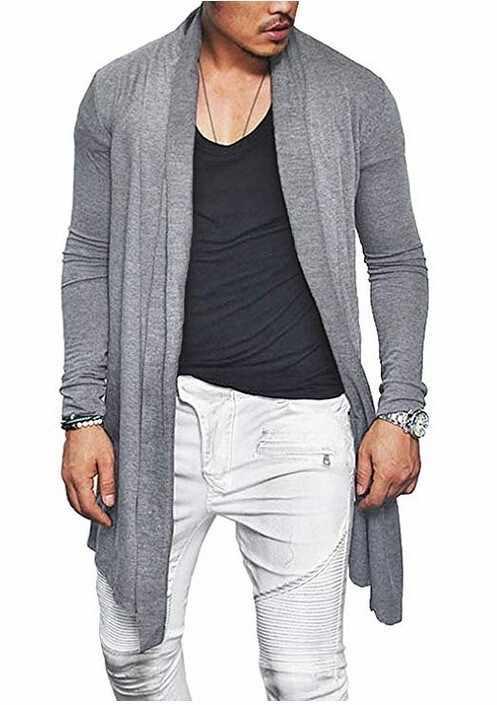 ¡Novedad de 2019! chaquetas largas para hombre, prendas de vestir exteriores de otoño, cárdigan ajustado de mezcla de algodón, Rebeca informal de Color sólido para hombre, cárdigan de manga larga