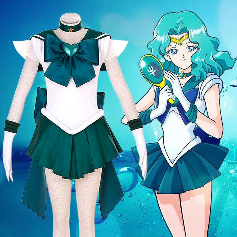 2019 chaud Anime marin lune Cosplay Kaiou Michiru Cos Halloween homme femme Cosplay Costume robe + manches + cravate + nœud + cravate + chapeaux - 2