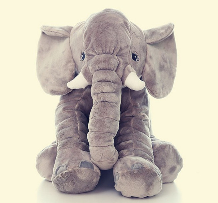 [Funny] 60CM Giant Elephant Plush Toy Soft Skin Infant Stuffed Animal Doll Kids Sleeping Pillow Cover (without Stuff) Baby Toy