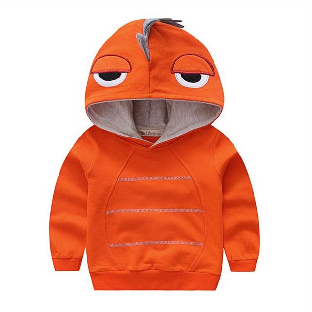 2017 Novo Estilo Camisolas Hoodies 2017 Nova Algodão Dinossauro Dos Desenhos Animados das Crianças da Menina do Menino Primavera e Outono Outwear WJ0284