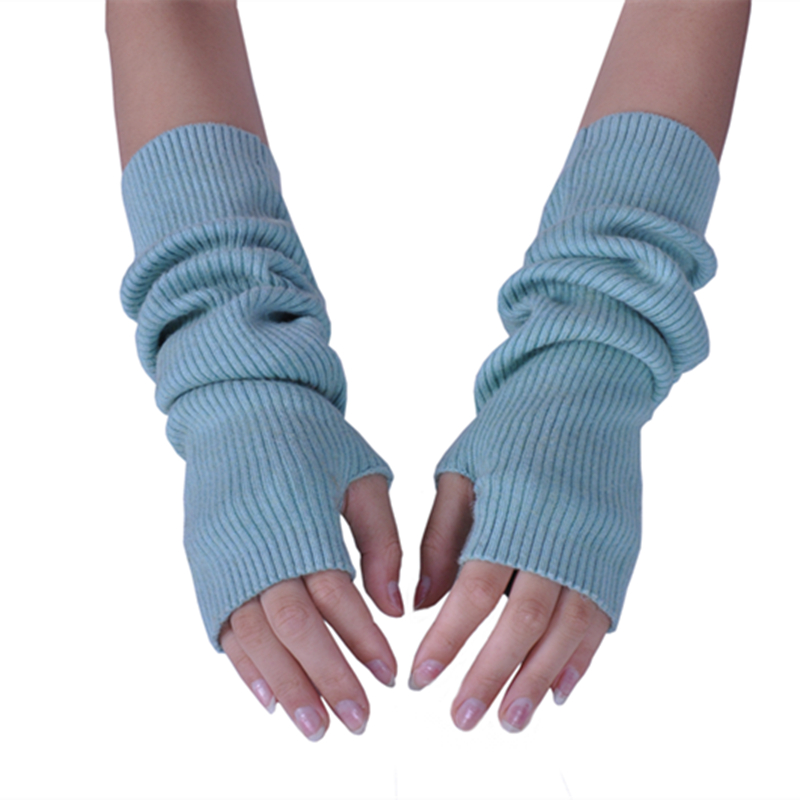 Women Winter Arm Warmers Cashmere Fingerless Long Gloves Solid Warm Mittens Elbow Thread Knitted Sleeves 40-50cm Glove Wool