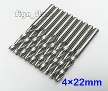 무료 배송 10 pcs 초경 cnc 라우터 비트 두 피리 나선형 엔드 밀 더블 플루트 밀링 커터 나선형 pvc 커터 4mm * 22mm