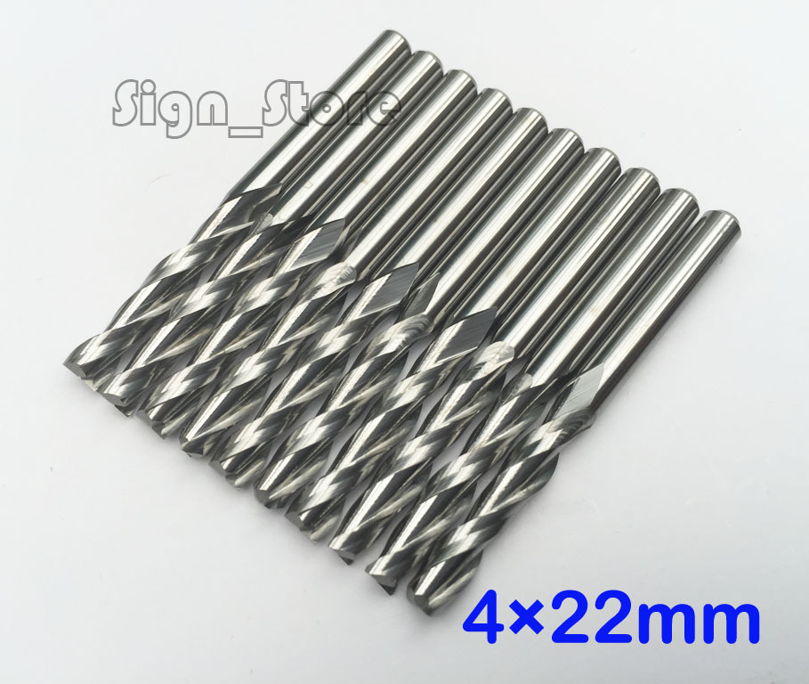 Free Shipping 10pcs Carbide CNC Router Bits Two Flutes Spiral End Mills Double Flutes Milling Cutter Spiral PVC Cutter 4mm *22mm free shipping 5pcs lot new 4mm hq carbide cnc router bits double flute aluminum cutting tools 3mm 8mm
