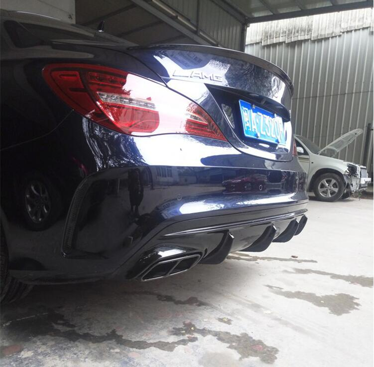 4 Outlet Rear Bumper ABS Diffuser with Exhaust Tips For Benz W117 CLA45 CLA180 CLA200 CLA250 CLA Class 2016 2017 2018