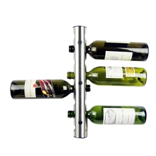 new creative 8 holes metal stainless steel wall mounted wine bottle holder wine rack holder unique for bar home decoration