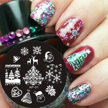 Pandox חג המולד חג המולד נושא תמונת תבנית בול נייל ארט צלחת AP01 נייל Stamping צלחות סט