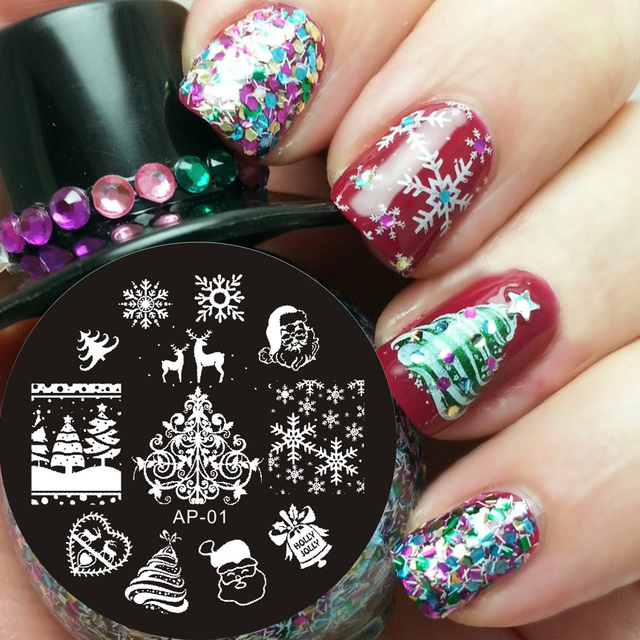Pandox Christmas XMAS Theme Nail Art Stamp Template Image Plate AP01 ...