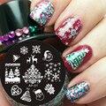 Pandox Tema de Navidad Nail Art Sello Plantilla Placa de la Imagen del Clavo Que Estampa Las Placas AP01 Conjunto