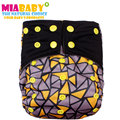Miababy1pcs Charcoal Bamboo Inner With Sewn Charcoal and Hemp Insert,Double Gussets Baby Real Cloth Diaper Onesize AIO&Pocket,