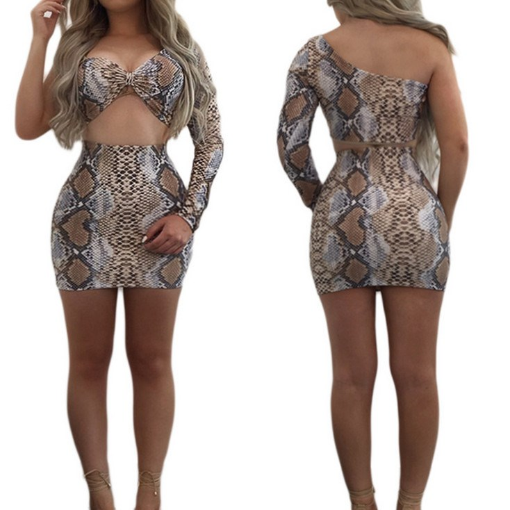 Sexy Women One Shoulder Two Piece Set Crop Top And Mini Skirt Snake Skin Print Outfits Empire Bodycon Club Party Suit