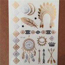 Body art pianing jewelry metallic temporary gold tatoo flash henna taty golden temporary tattoo choker tattoos