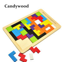 Kids Toys Wooden Tangram Jigsaw Board Puzzle Brain Teaser Puzzle Tetris Game Educational Baby Child Kids