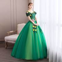 free ship green flowers fairy garden ball gown medieval dress Renaissance queen Victorian cosplay ball gown Belle Ball