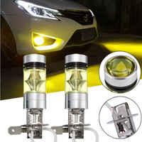 2PCS Led Fog Lamp 4300k Yellow LED H3 100W High Power 100W 2828 Car Fog Light Bulb DRL 2000LM High-brightness Fog Lamp Wholesale