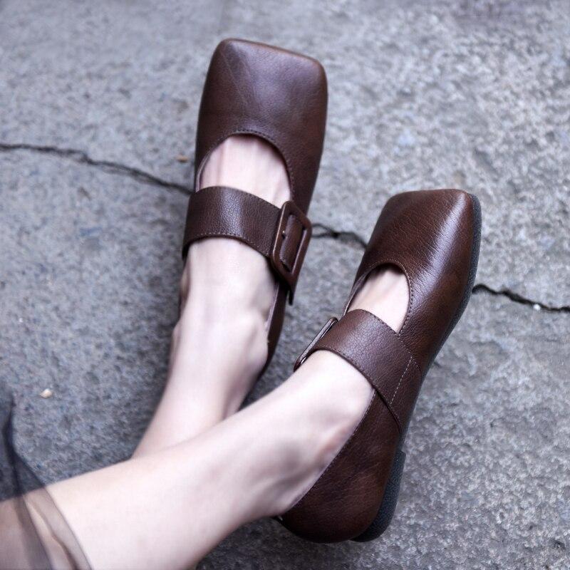 Artmu Original Square Toe Genuine Leather Women Shoes Handmade Strap Buckle Flats Casual Mary Jane Roma
