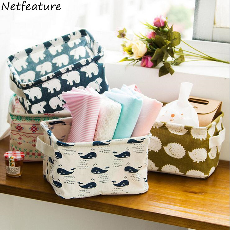 1PCS Cute Linen Desk Storage Box Holder Jewelry Cosmetic Stationery Case Organizers Bedroom Home Small Clothing Storage Baskets