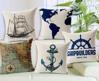 5 Pcs/lot Removable Washable Anchor Nautical Map Sofa Cushion Cover Car Pillowcase Home Decortion Pillow Sets 45*45cm