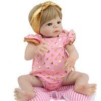 Reborn Baby Full Body Silicone Baby 55cm Doll 22inch Handmade Toys For Children Lifelike Alive Bebe Menina Girl lol Gifts Pink