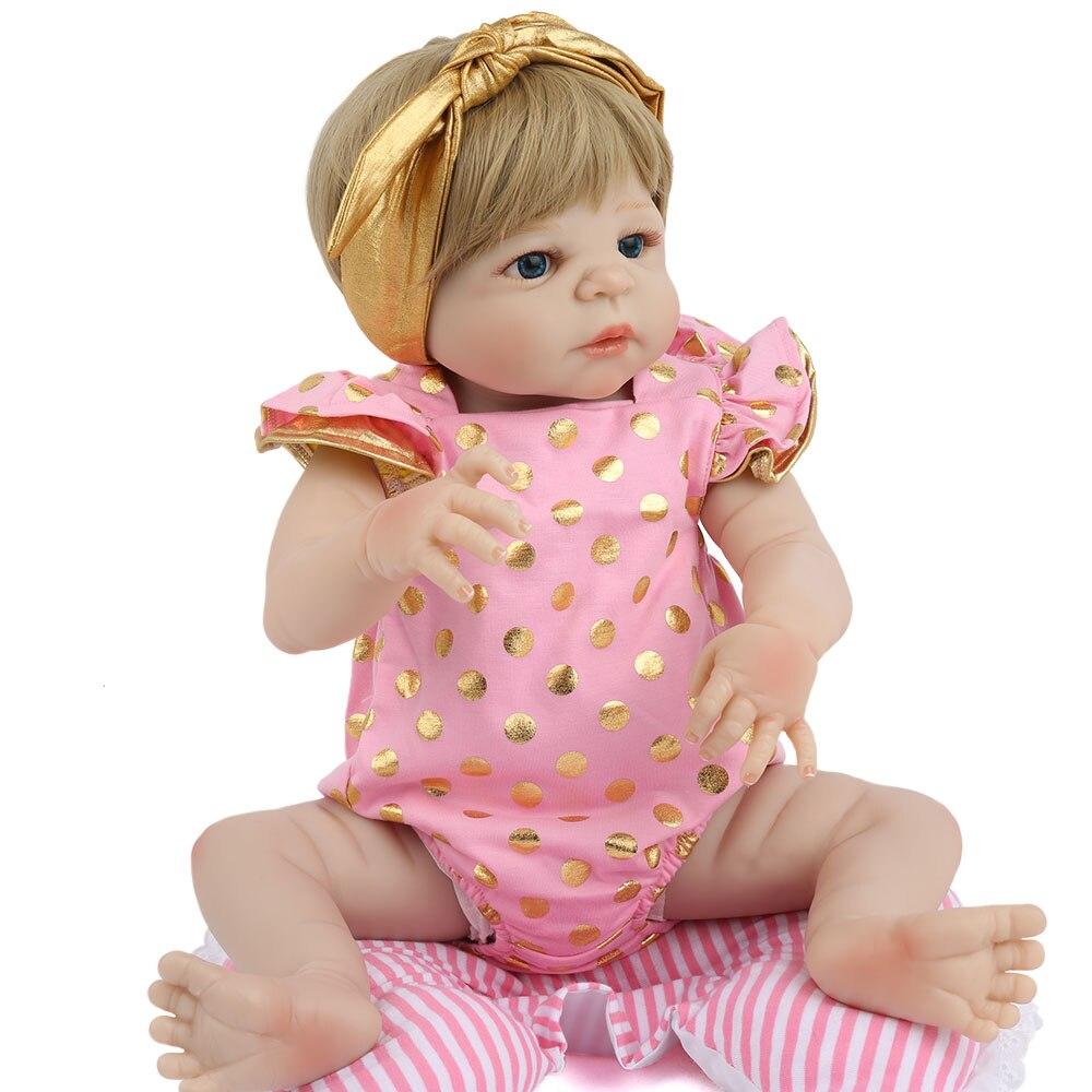 Reborn Baby Full Body Silicone Baby 55cm Doll 22inch Handmade Toys For Children Lifelike Alive Bebe Menina Girl lol Gifts PinkReborn Baby Full Body Silicone Baby 55cm Doll 22inch Handmade Toys For Children Lifelike Alive Bebe Menina Girl lol Gifts Pink