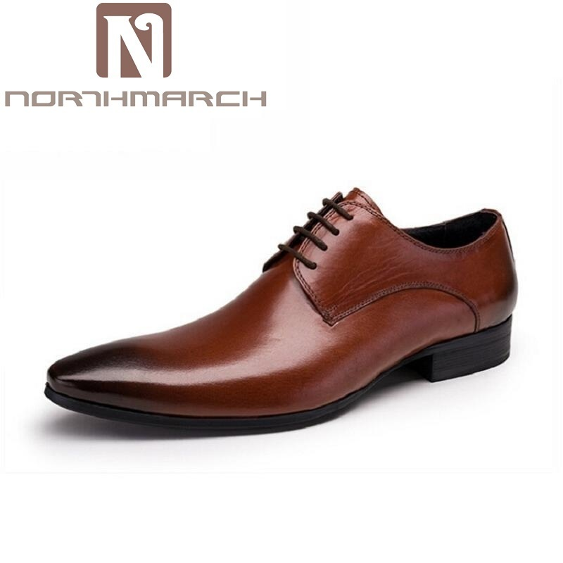 NORTHMARCH Wedding Men's Dress Shoes Genuine Leather Black Formal Male Shoes Business Pointed Toe Mens Leather Shoes schoenen hot sale mens genuine leather cow lace up male formal shoes dress shoes pointed toe footwear heren schoenen large size black red